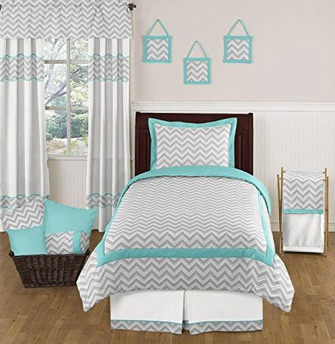 Turquoise Gray Zig Zag by