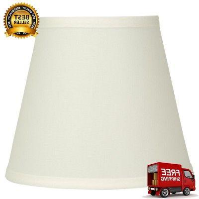 Bell Lamp Shade Natural Fabric Clip-On Fitter Transitional 7