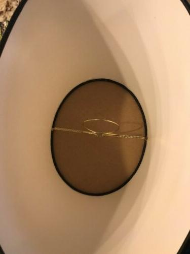 """Clip-On Oval White With Black Trim 8"""" Tall Fabric"""