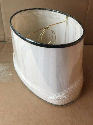 """Clip-On Lamp Shades Oval White 8"""" Tall Fabric"""