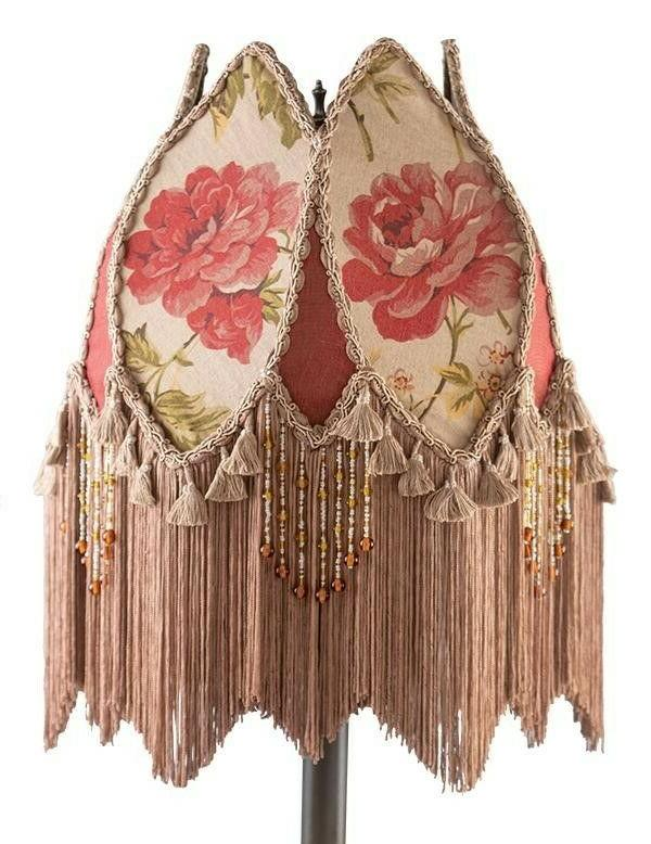Victorian Trading Co Silk & Cotton Cottage Rose Fringed Lamp