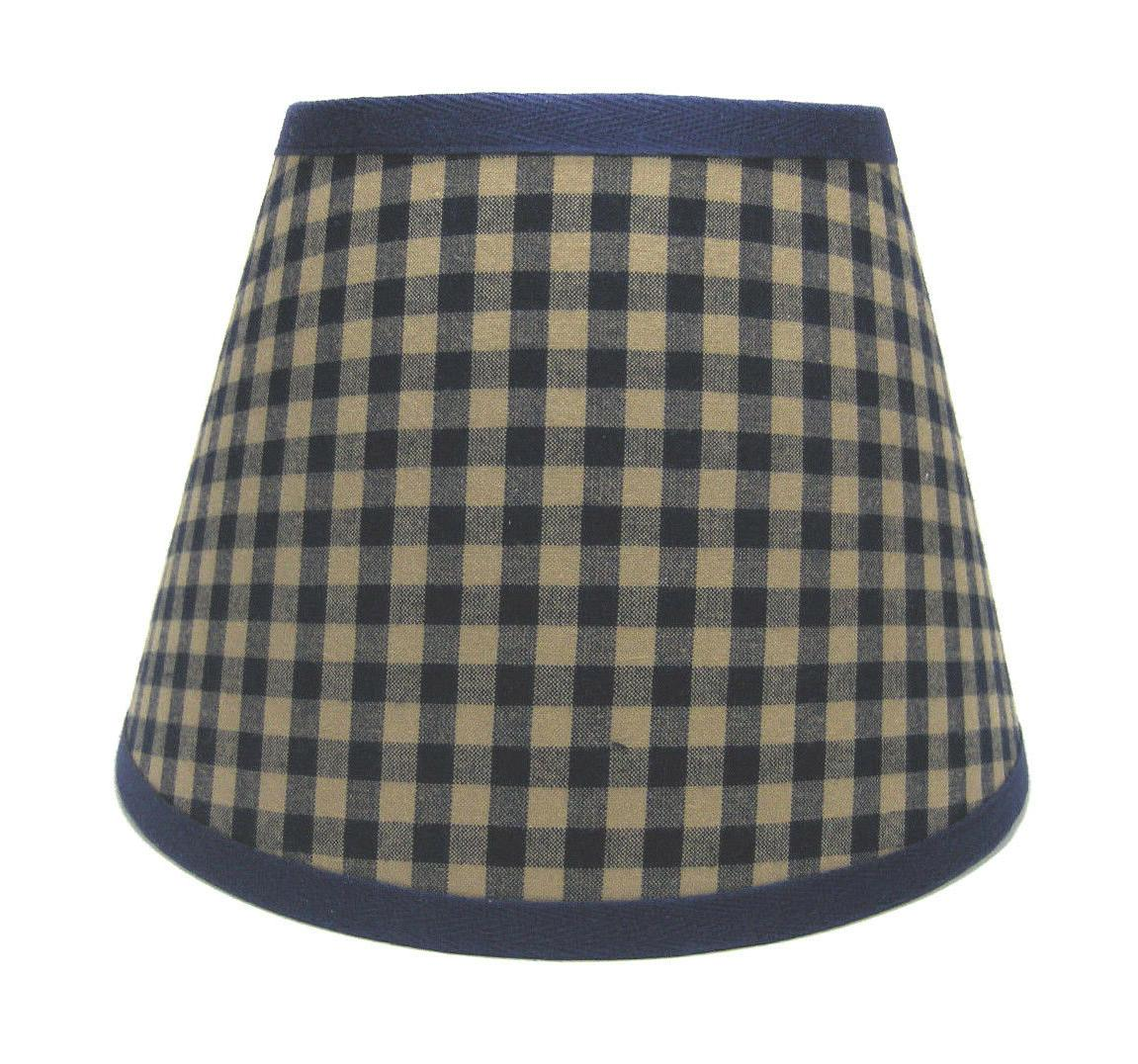 country primitive navy medium check homespun fabric
