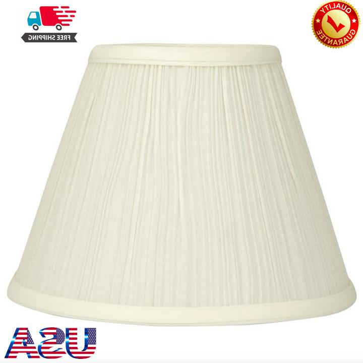 Cream Fabric Bell Lamp Shade 7.5x10 Inch Clip On Fitter Tran