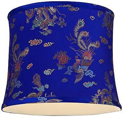 Dark Blue Peacock Drum Lamp Shade