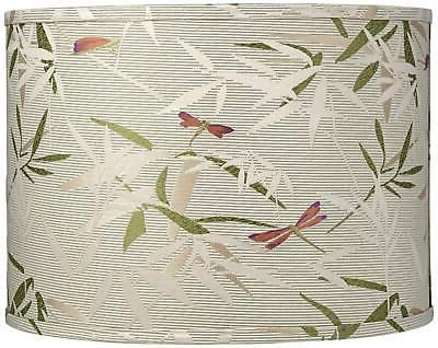 golden bamboo leaves drum lamp shade 15x15x11