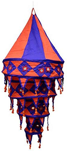 Indian Traditonal Hanging Lampshade Patchwork Mirror Work Ho