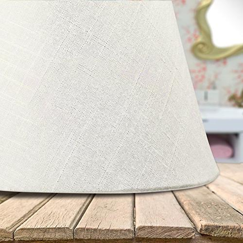 "Lamp Shade IMISI Linen Fabric White Small 5"" x Bottom x 7"""