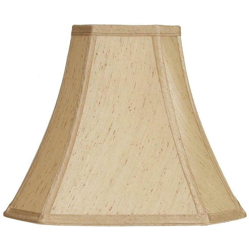 Lamp Shade Square Corner Neutral Soft Brown Fabric Elegance