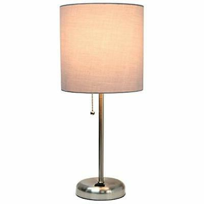 Limelights LT2024-GRY Lamp With Charging And Fabric Shade,