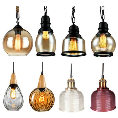 modern vintage industrial pendant glass light lamp