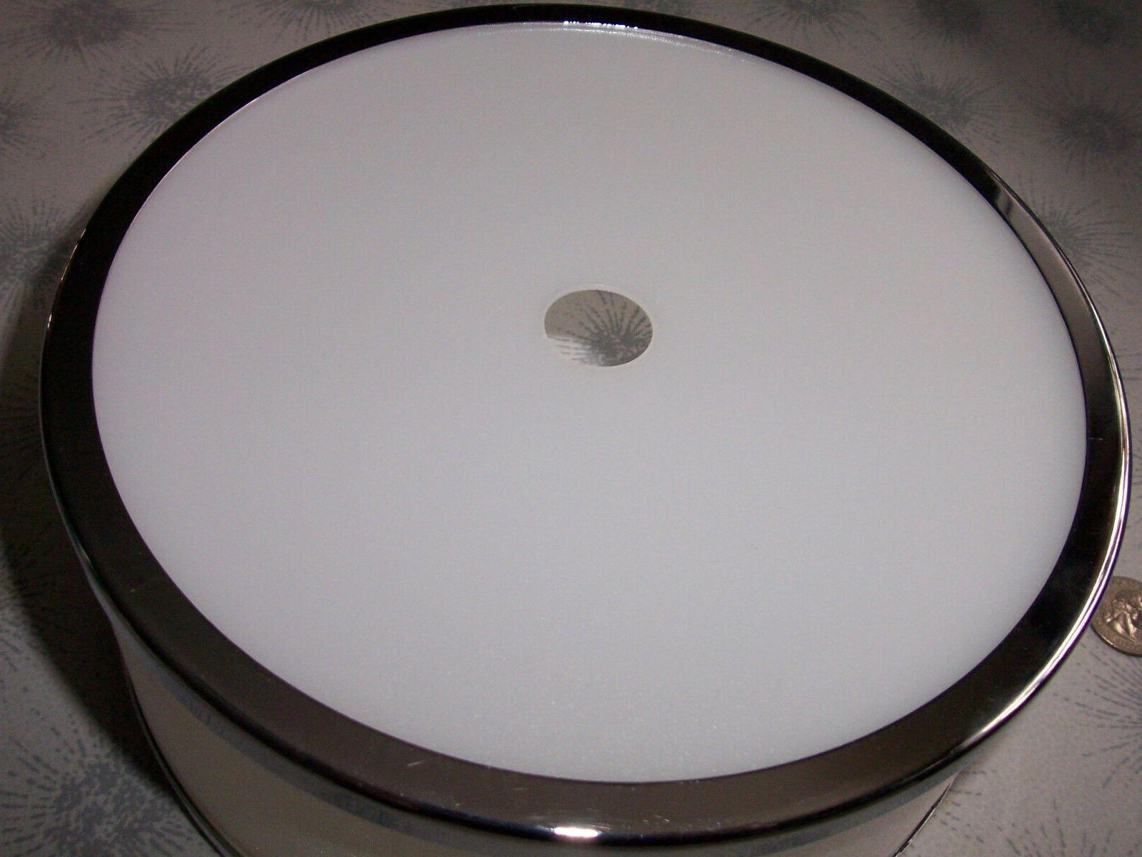 MODERN WHITE DRUM LAMP SHADE~CHROME FIXTURE REPLACEMENT