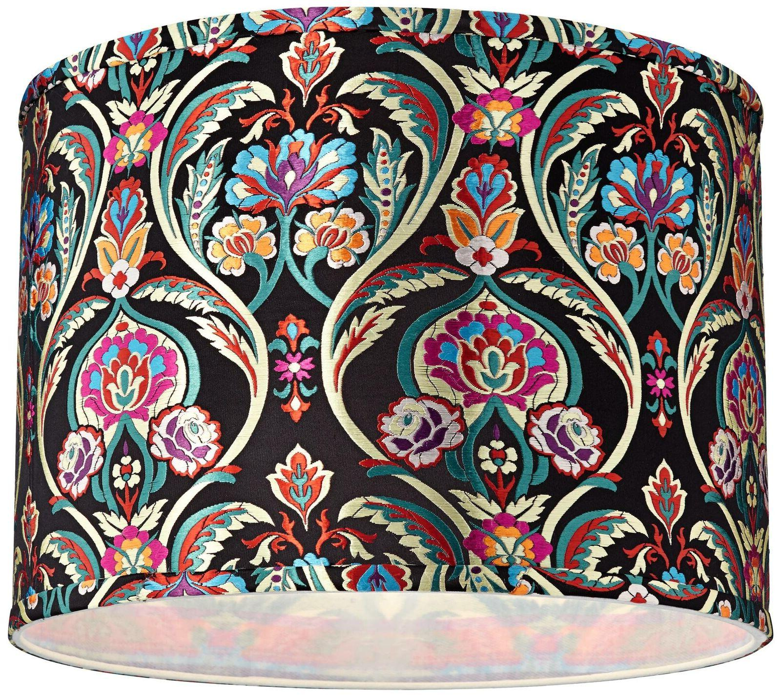Multi-Color Embroidered Drum Shade 15x15x11