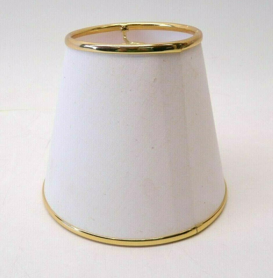 NEW White/Gold Lamp Shade Fabric Small Table Lamp 6.5 X