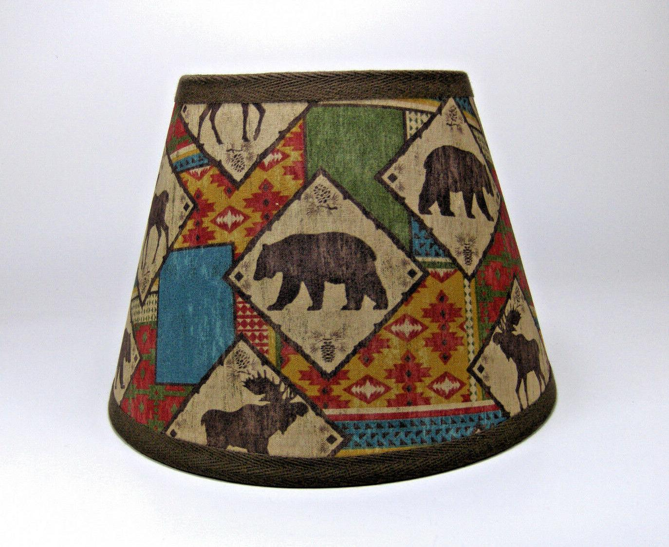 primitive moose bear aztec fabric lampshade lamp