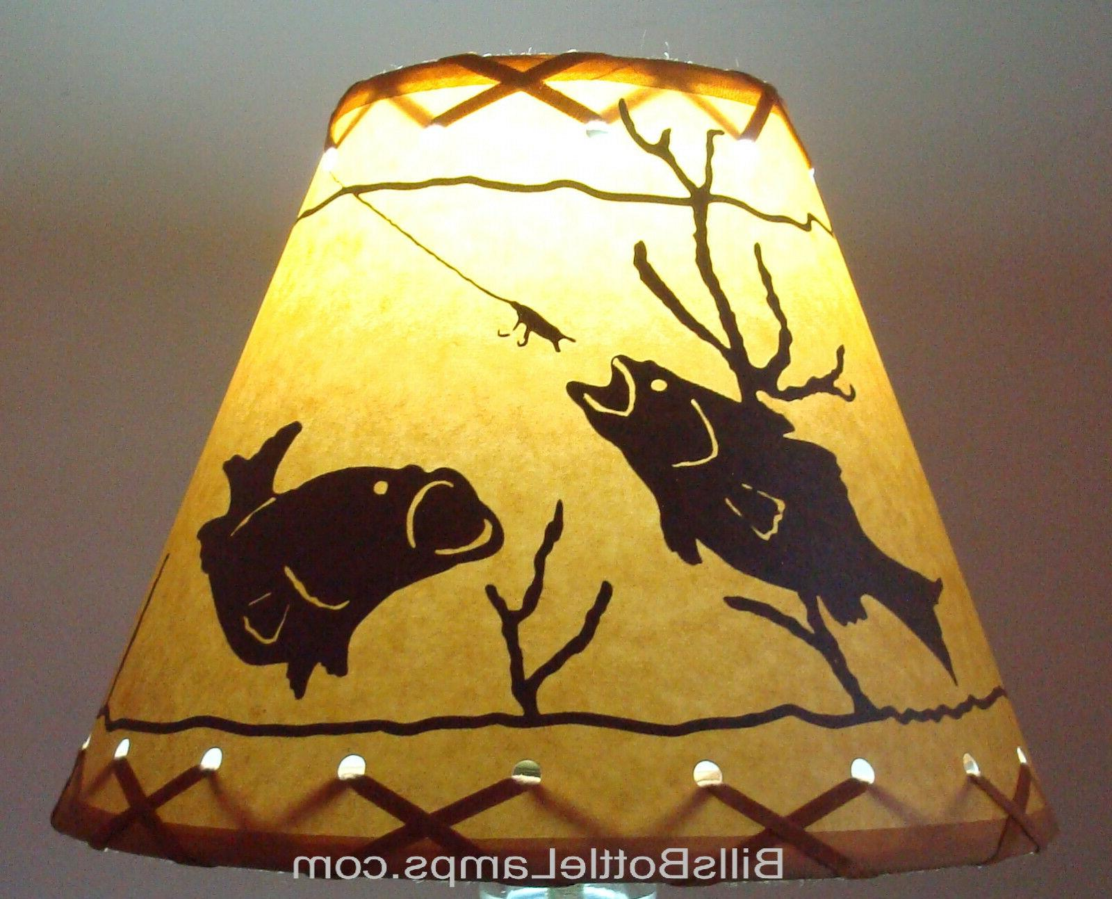 "Rustic ""Bulb Clip"" FISH Scene Table Desk LAMP Decor"