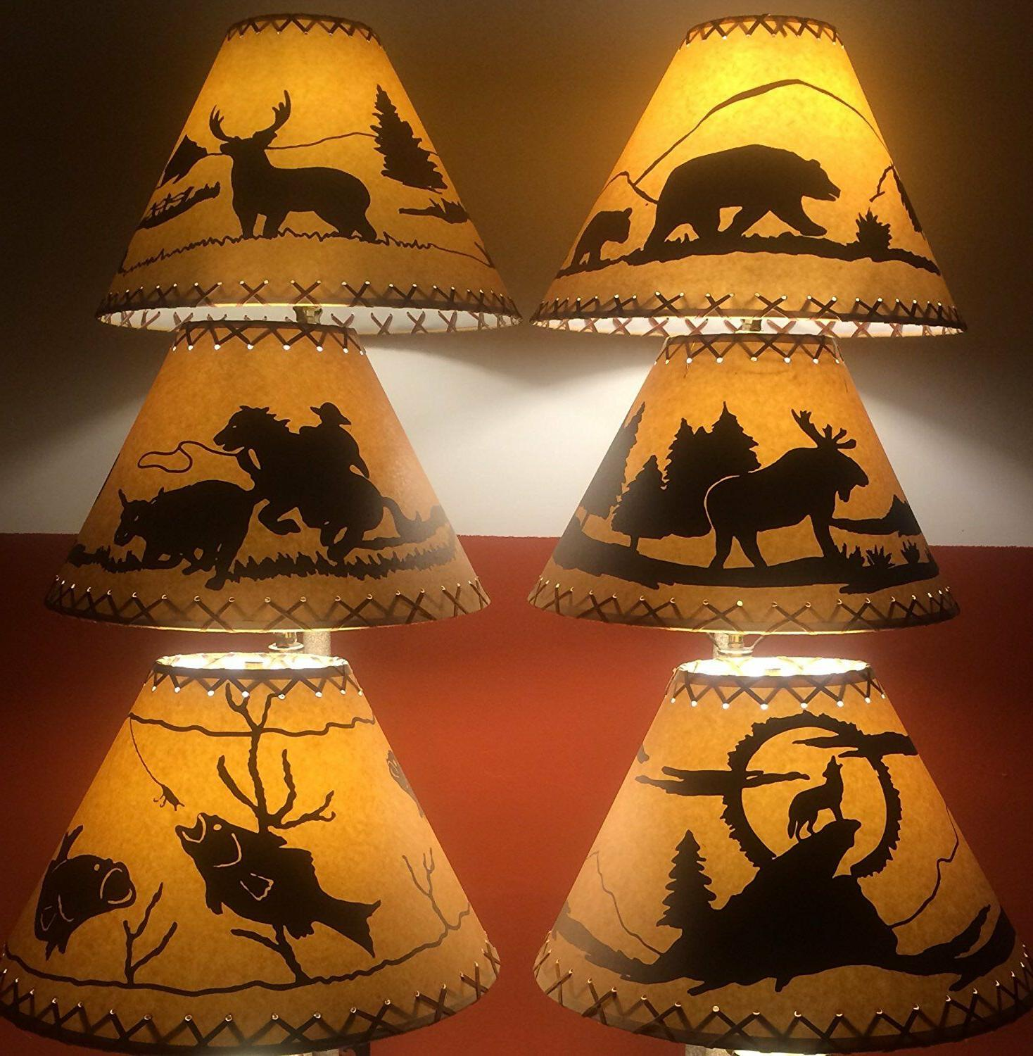 rustic lamp shades listed by base diameter