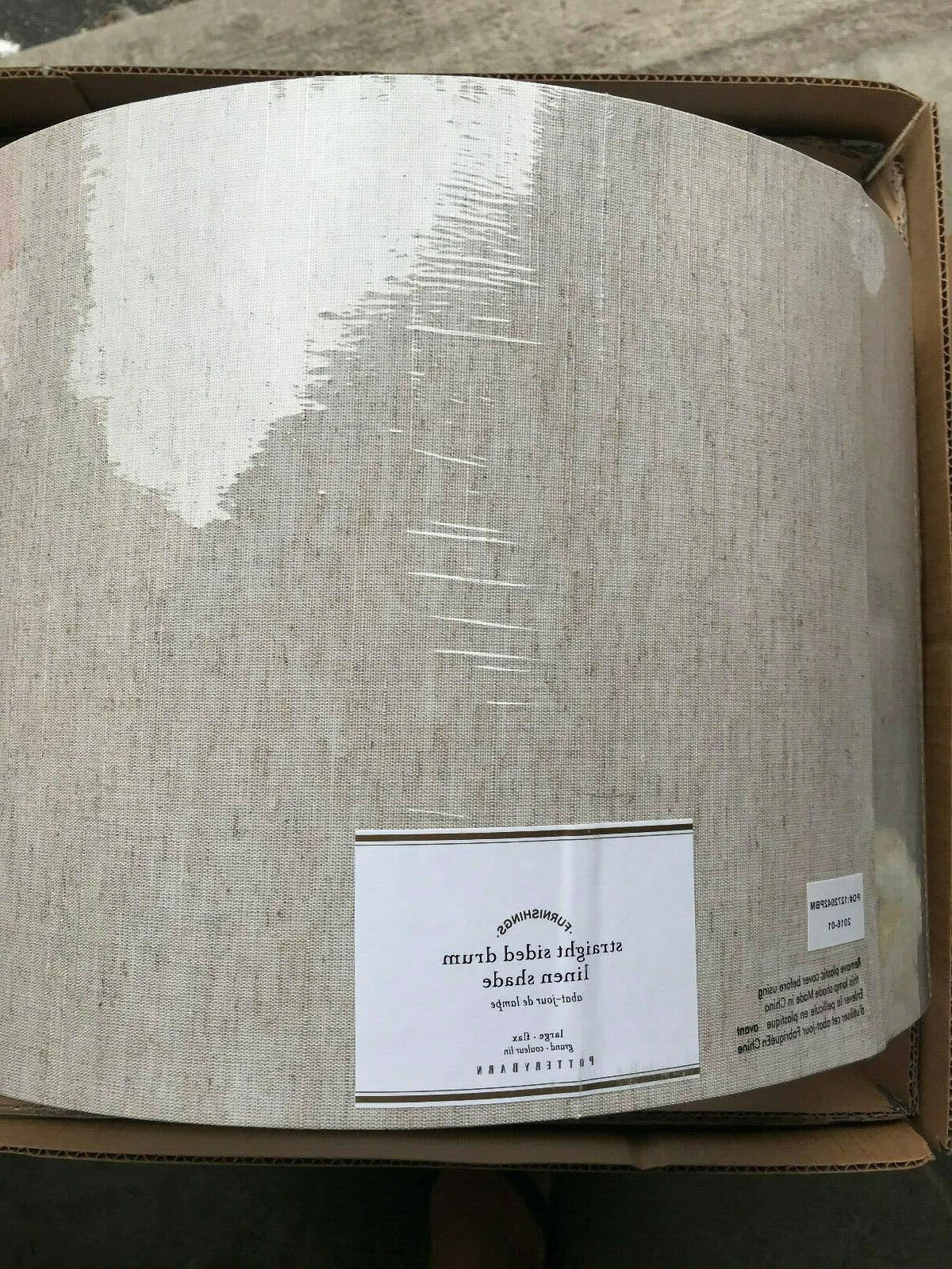 straight sided linen drum shade large flax