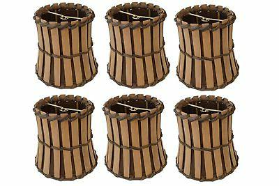 Upgradelights Set of Six Bamboo Style Mini 4 Inch Clip on Ch
