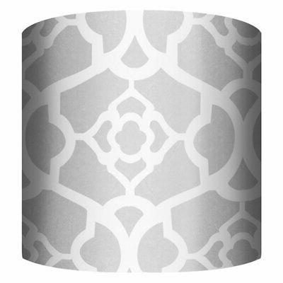 white and silver b drum lamp shade