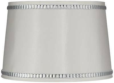 white drum lamp shade with crystal trim