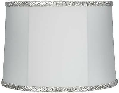 white with rhinestone trim drum lamp shade