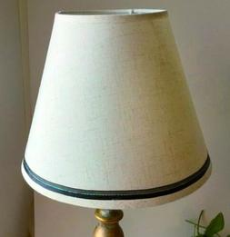Lamp Shade Off-White Fabric With Black/Green Trim 9x5x7.5 No