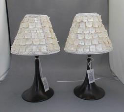 LED Tea Light Lamps With Sea Shell Lamp Shades, New Pair Of