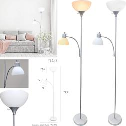 Simple Designs Home LF2000-BLK Floor Lamp with Reading Light