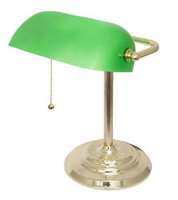 Light Accents Metal Bankers Lamp Desk Lamp With Green Glass