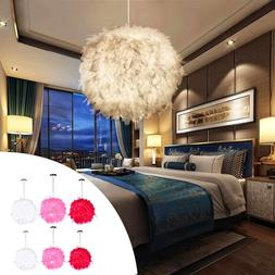 Modern Red/Pink/White 110-220V Feather Ball <font><b>Lamp</b