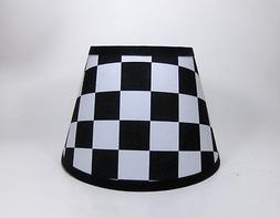 NASCAR Black White Checkered Flag Auto Racing  Fabric Lampsh