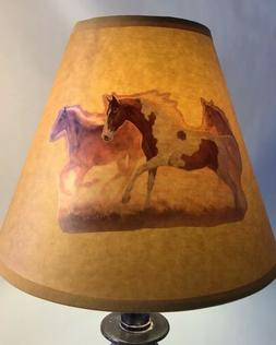 New Lamp Shade Oiled Kraft, Clip-on Bulb, Horse Design, West
