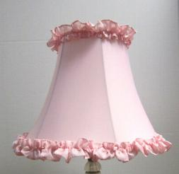 "New PINK RUFFLE Table Lamp Shade  6""x 12""x 9.5""h  softback f"