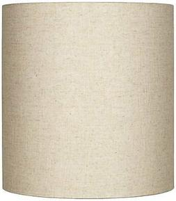 Oatmeal Tall Linen Drum Shade 14x14x15