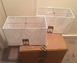 Brentwood Collection Off-White Set of 2 Hardback Lamp Shades