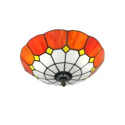 Orange Tiffany Style LED Ceiling Light Stained Glass Lamp Sh