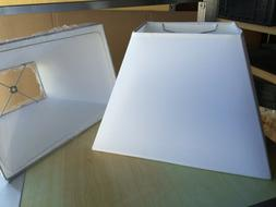 """PAIR Tapered Rectangle Fabric Lamp Shade 15"""" w  White"""