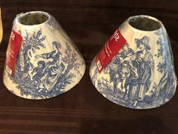 Pair Vintage French Country Life Blue Toile Lamp Shades Vict