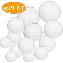Paxcoo 13 Packs White Paper Lanterns with Assorted Sizes for