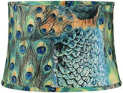 peacock print drum lamp shade