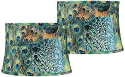 Set of 2 Peacock Print Drum Lamp Shades 14x16x11