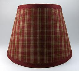 Primitive Burgundy Sturbridge Plaid Homespun Fabric Lampshad