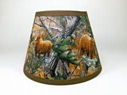 Primitive Deer Moose Bear Turkey Tree Camo Fabric Lampshade