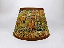 Primitive Deer Raccoon Turkey Woods Fabric Lampshade Lamp Sh