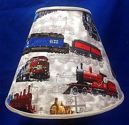 Railroad Trains on Grey Locomotive Lampshade Handmade  Lamp