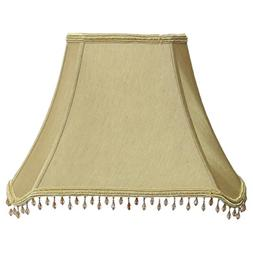 Amita Trading Inc. Rectangle Cut-corner Beaded Silk Shade