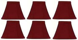 Upgradelights~Red SILK~Empire Clip on Chandelier Lamp Shade~