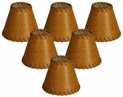 Royal Designs Faux 2-Tone Leather Dark Brown Chandelier Lamp
