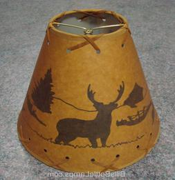 "Rustic ""Bulb Clip"" DEER Scene Table Desk Light LAMP SHADE Co"