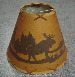 "Rustic ""Bulb Clip"" MOOSE Scene Table Desk Light LAMP SHADE C"